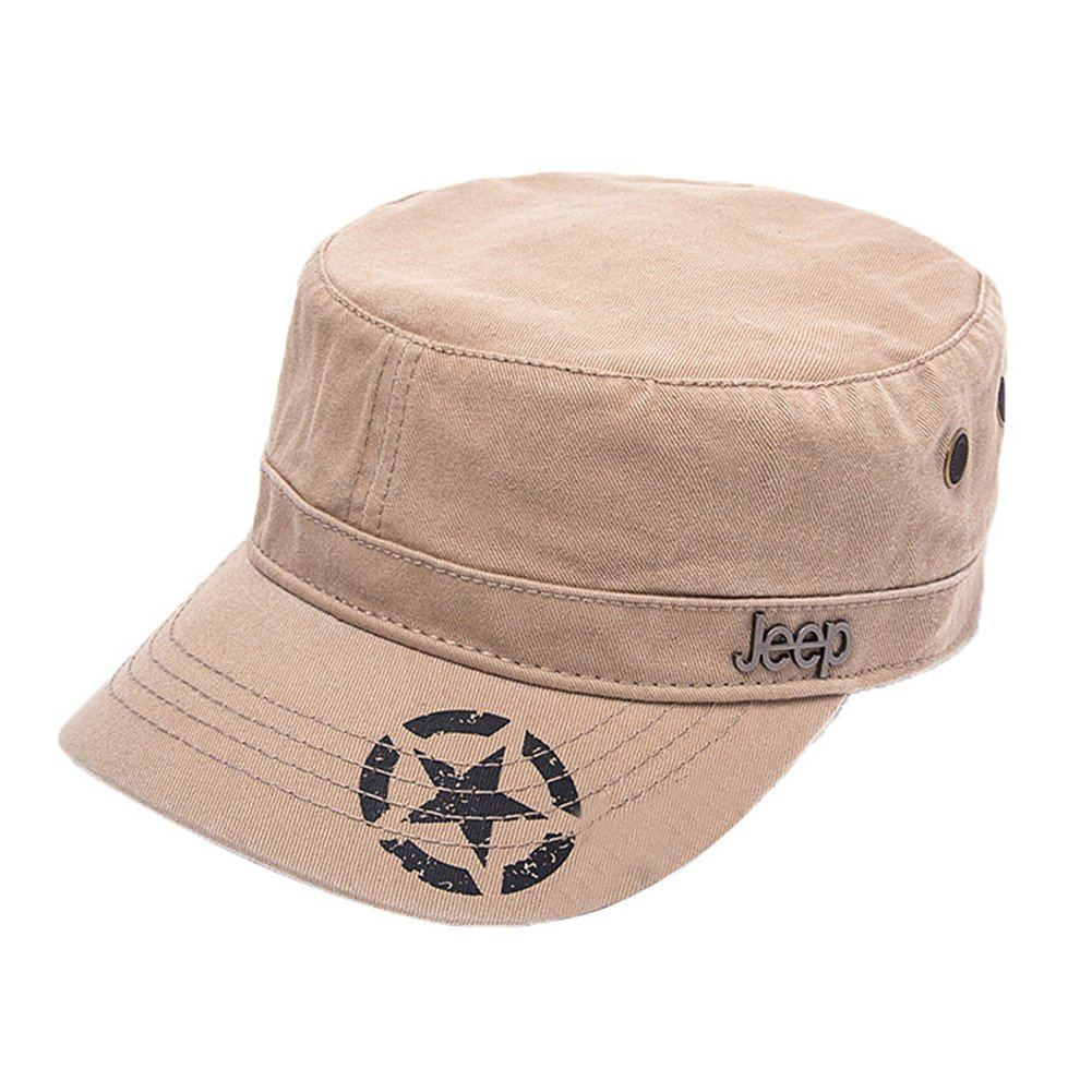 Jeep Unisex Star Print Adjustable Military Cap Hat (Apricot, Free Size)