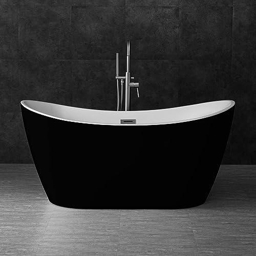 WOODBRIDGE BTA1816 59 Acrylic Freestanding Bathtub Contemporary Soaking Tub with Brushed Nickel Overflow and Drain, B-1816 Black Color