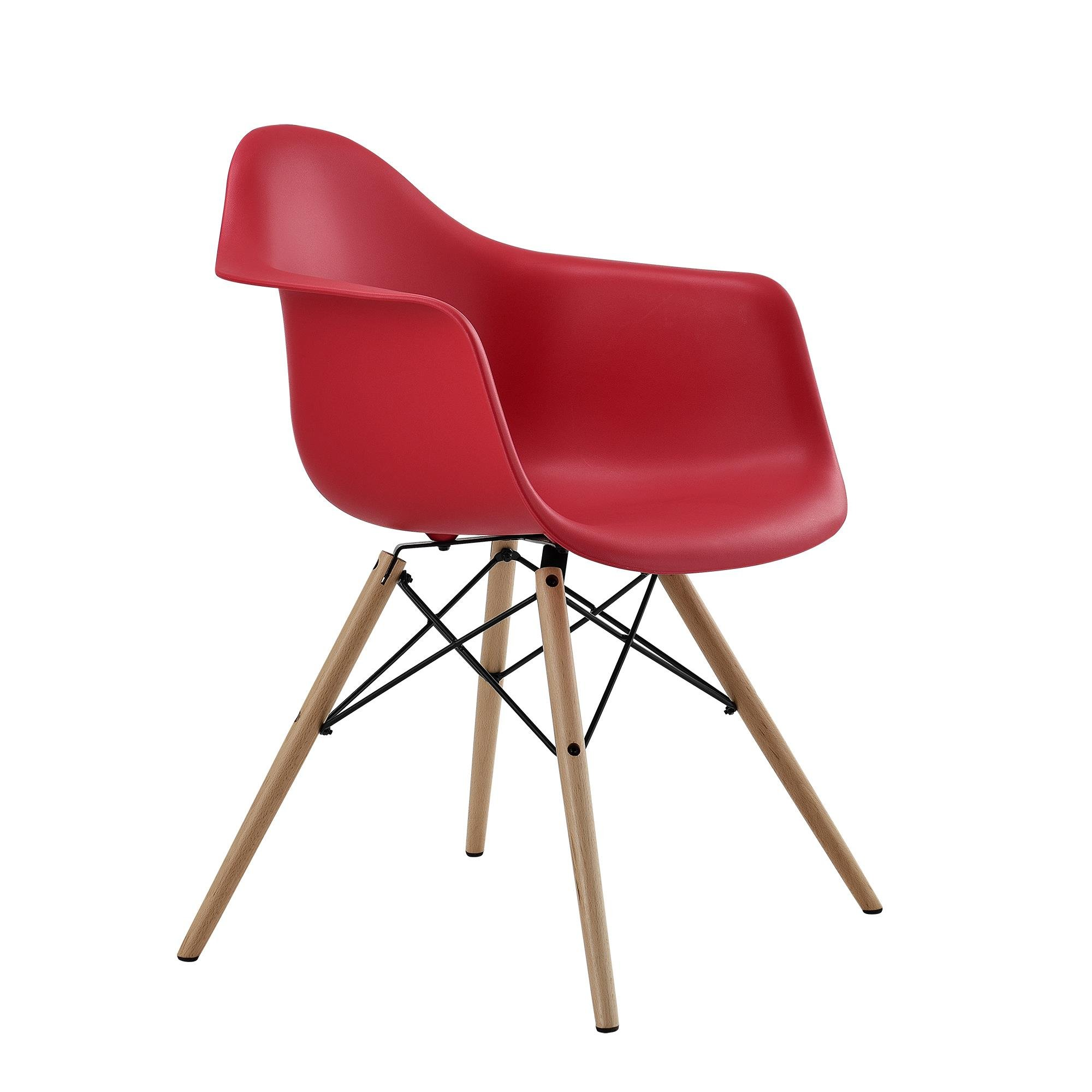DHP Mid Century Modern Chair with Molded Arms and Wood Legs, Lightweight, Red