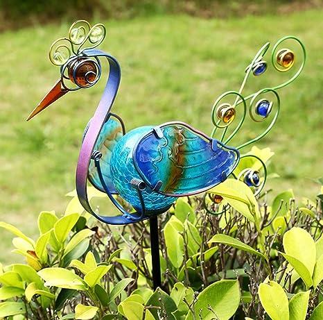 43u0026quot; Height Blue Metal Art Solar Peacock Garden Stake Garden Decor