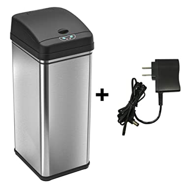 iTouchless Sensor Trash Can with AC Adapter Battery-Free Automatic Bin with Odor Filter, for Kitchen and Office, 13 Gallon, Stainless Steel with Black Lid
