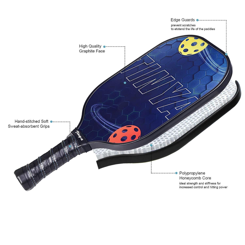 Tinya Graphite Pickleball Paddle Set 7.76 Oz Black Pop Carbon Fiber Cool Graphic Best 3K Composite Large Lightweight Top Long Grip Professional Power Outdoor Rackets for Mens Women Kids Ladies Younth