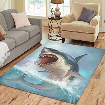 InterestPrint Sea Ocean Animal Shark Area Rug 7 X 5 Feet, Underwater World Modern  Carpet
