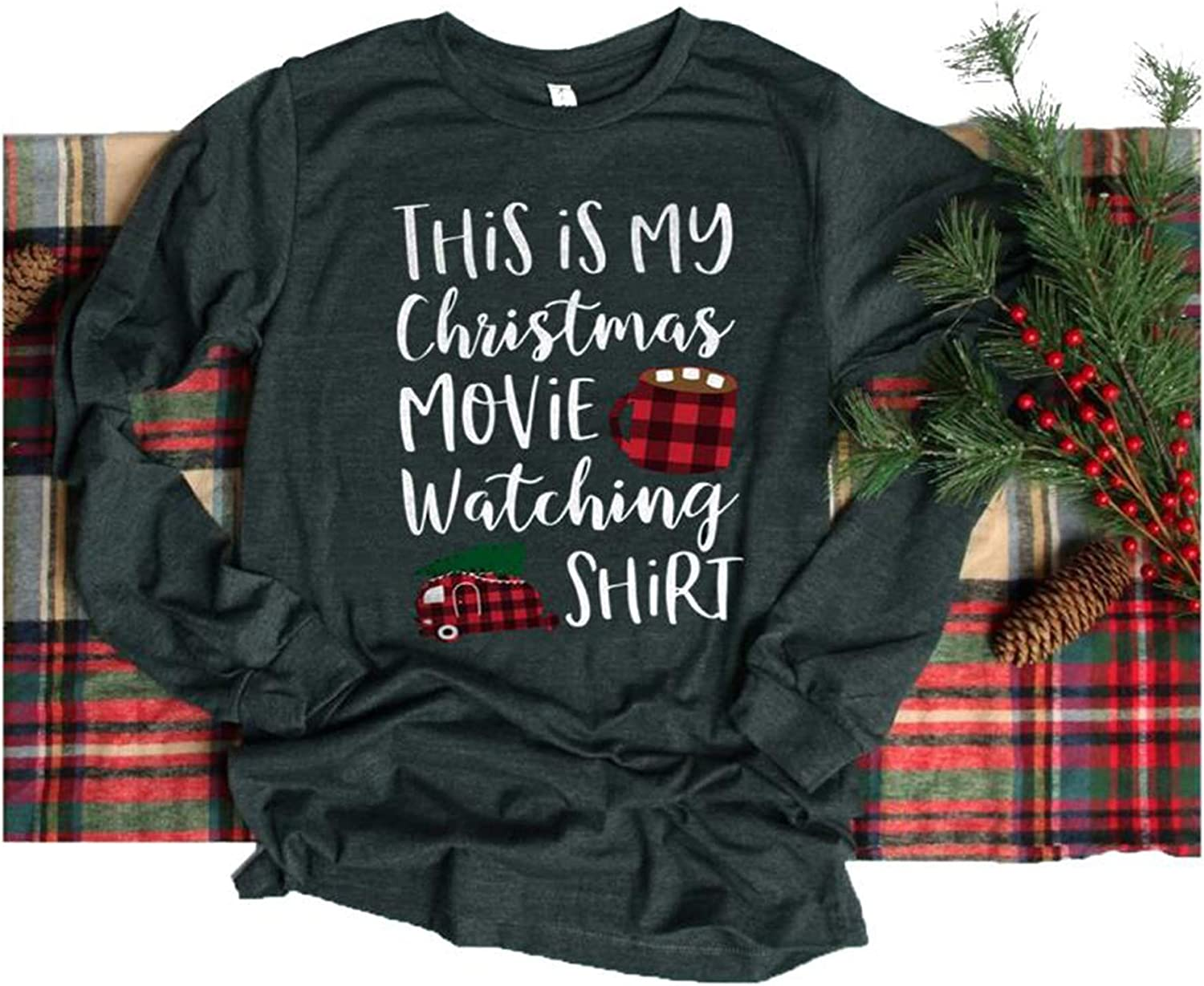 This is My Christmas Movie Watching Shirt Women Funny Christmas Movie Lover Shirt Long Sleeve Funny Vacation Holiday Tops