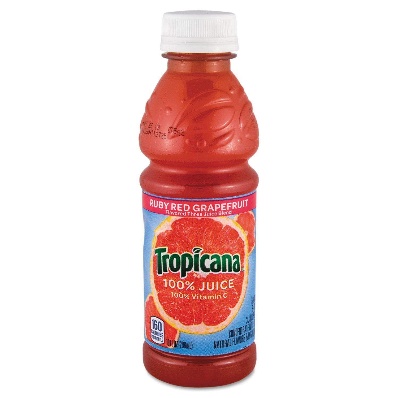 Tropicana 57161 100% Juice, Ruby Red Grapefruit, 10oz Bottle, 24/Carton