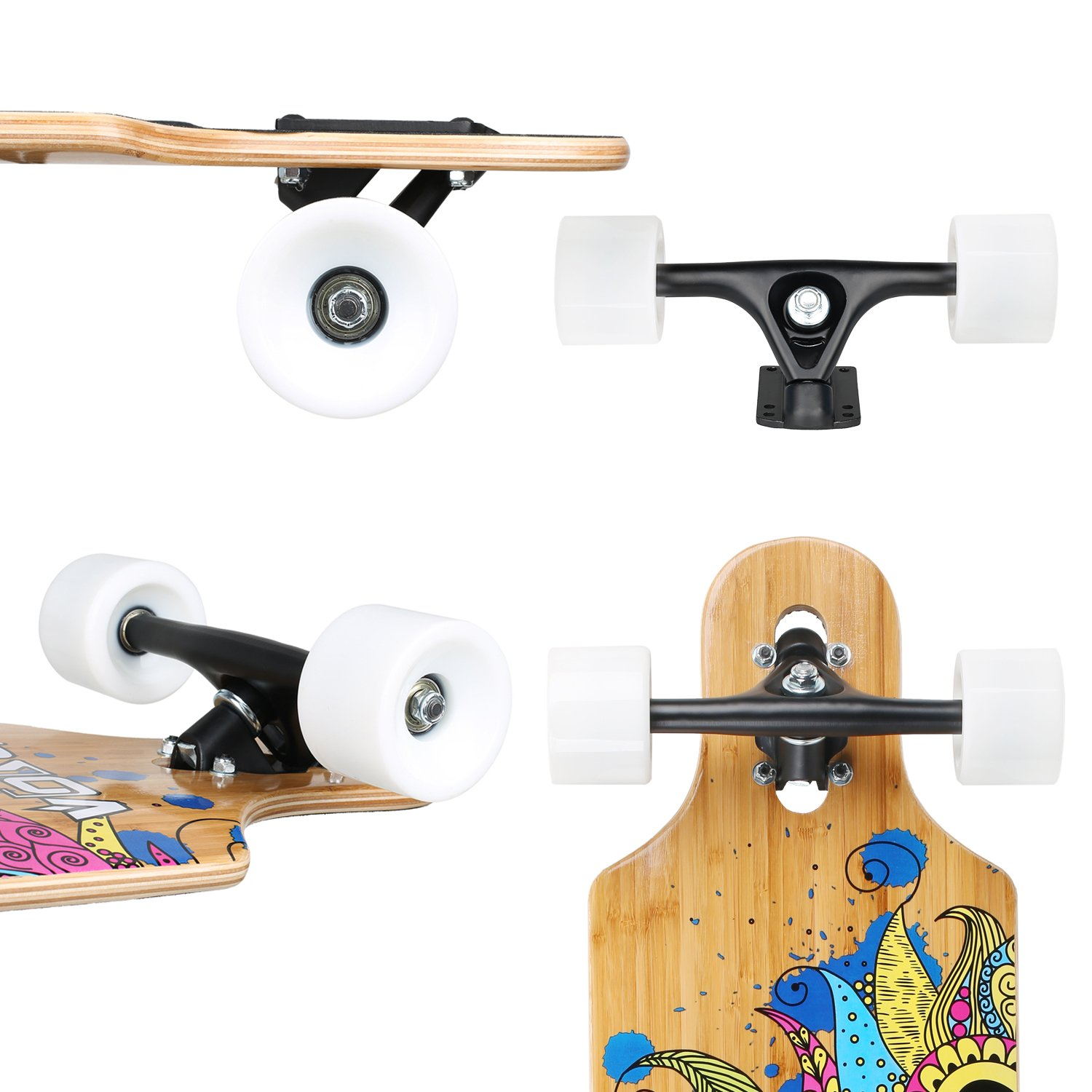 VOKUL Complete Longboard Skateboard Cruiser with 7-Ply Maple Wood and 1 Layer Bamboo Deck for Kids Youth Adults