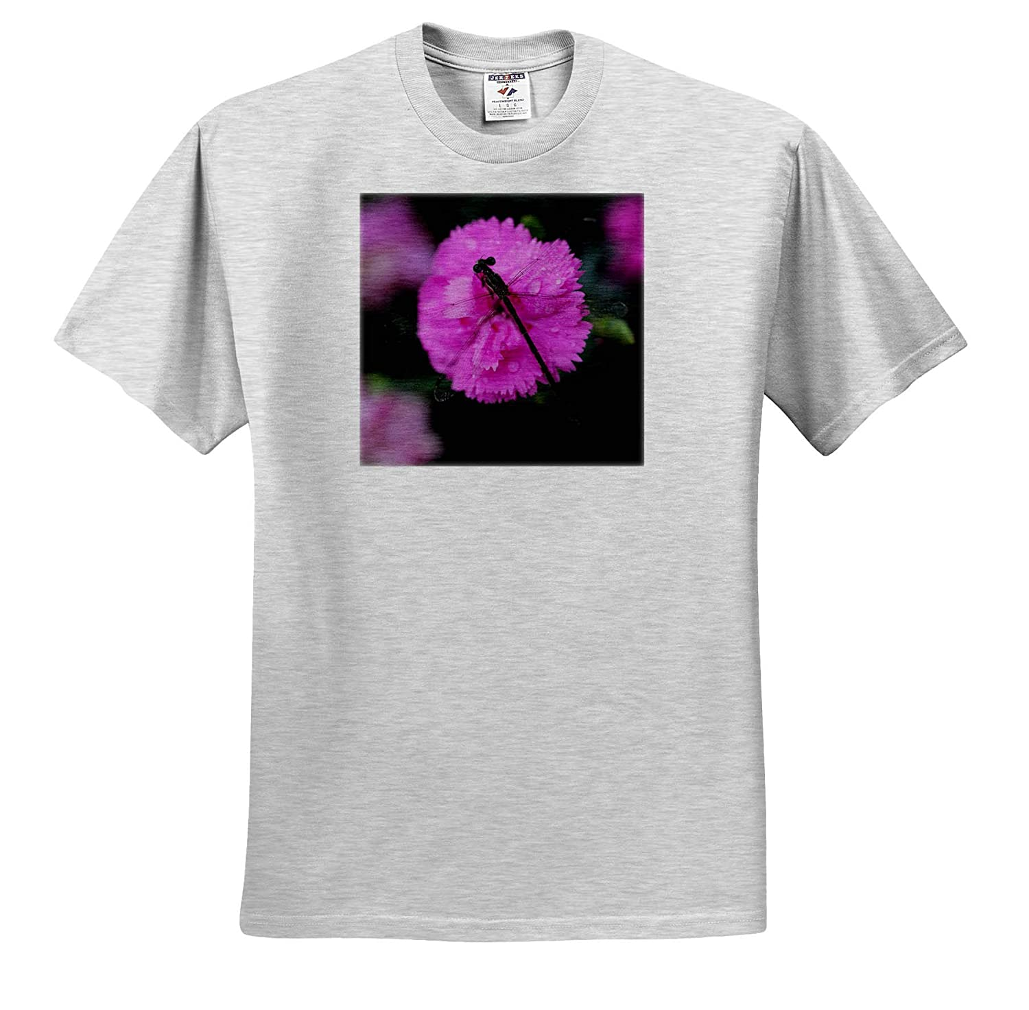 - Adult T-Shirt XL 3dRose Stamp City Macro Photograph of a damselfly on a Pink Dianthus Flower ts/_315558 Insect