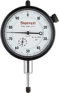 "product image for Starrett 25-441/5J Dial Indicator, 0.375"" Stem Dia., Lug-on-Center Back, White Dial, 0-100 Reading, 0-0.5"" Range, 0.001"" Graduation"