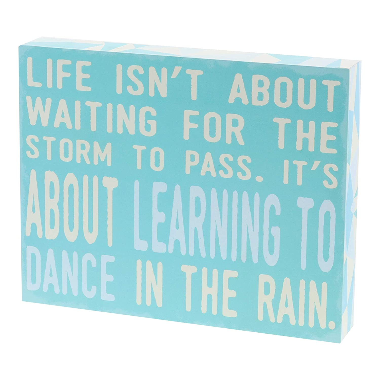 "Barnyard Designs Life Isn't About Waiting for The Storm to Pass Box Wall Art Sign, Primitive Country Farmhouse Home Decor Sign with Sayings 10"" x 8"""