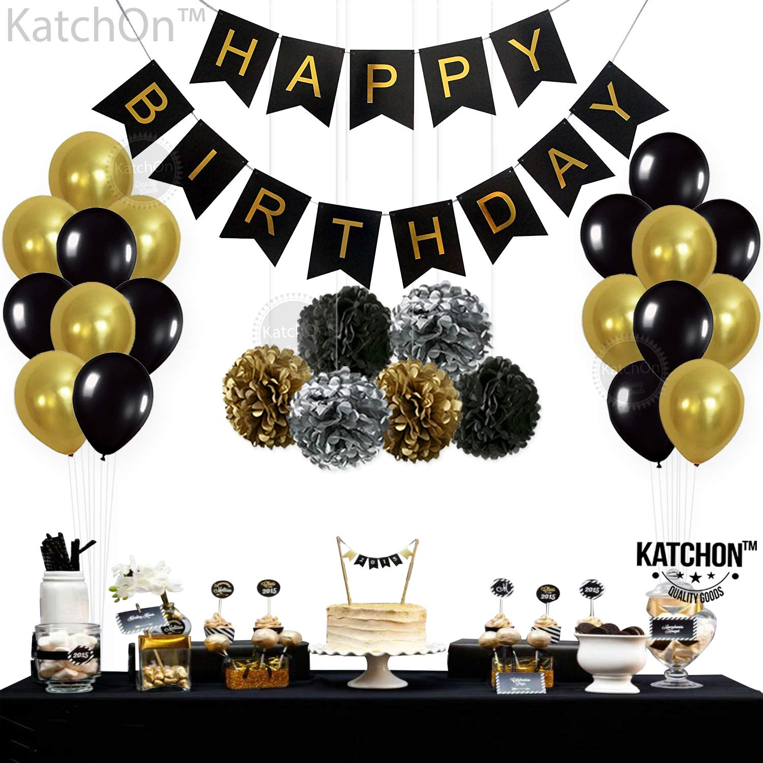 Amazon BLACK And GOLD PARTY DECORATIONS
