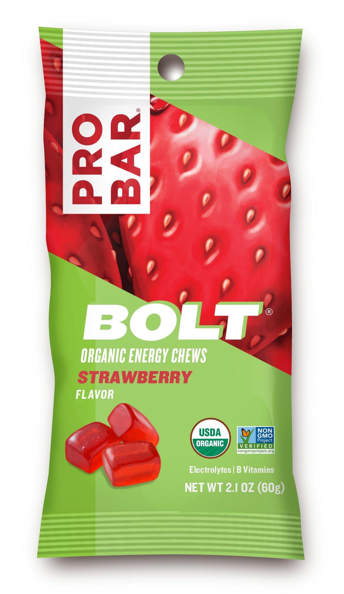 PROBAR - BOLT Organic Energy Chews, Strawberry, 12 Count - USDA Organic, Gluten-Free, Fast Fuel Gummies