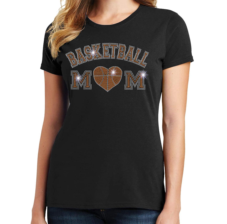 Beckys Boutique Basketball-Heart Basketball mom Spangle Rhinestone Bling Shirt