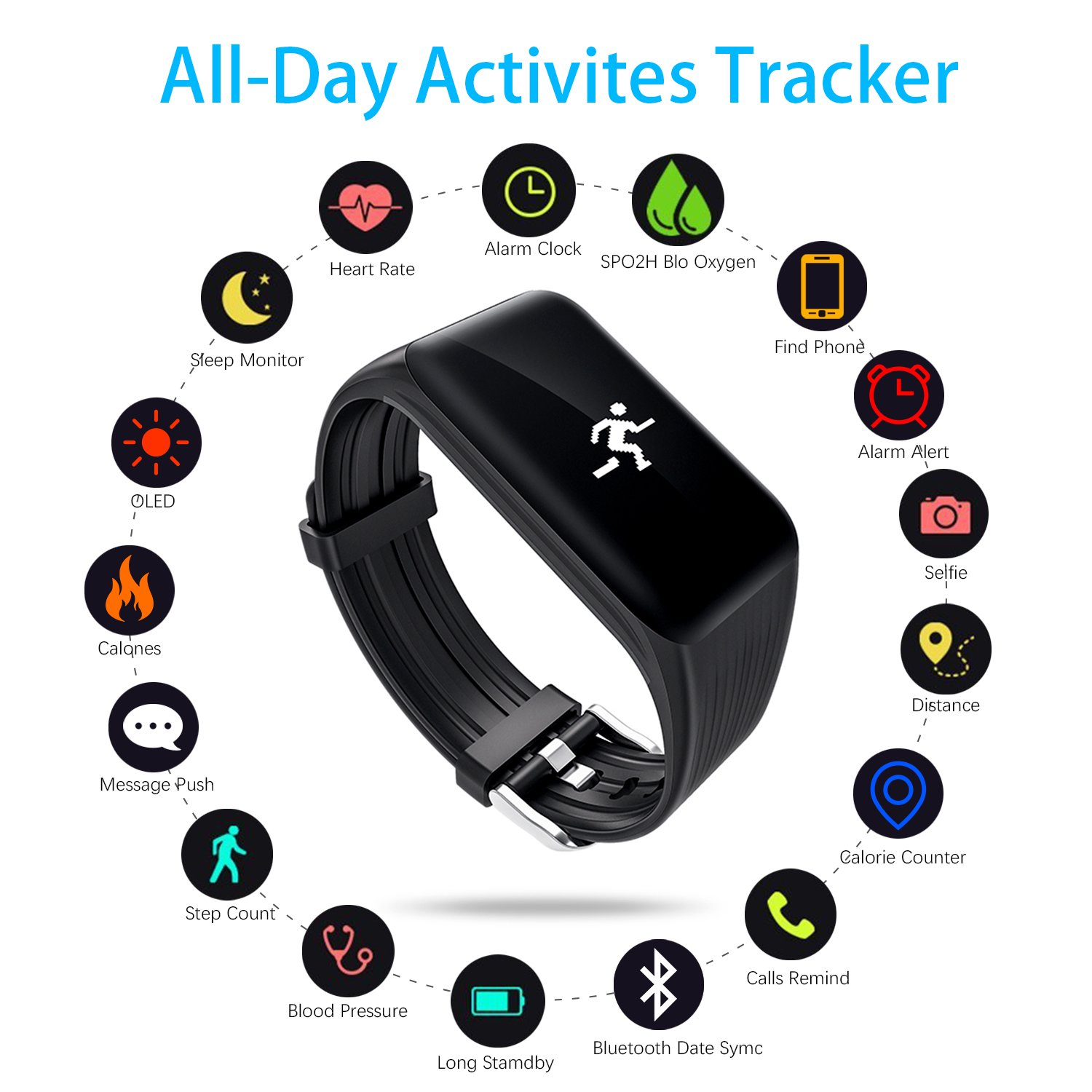 Amazon.com : HALKG LEI Fitness Tracker Watch IP68 Waterproof Activity Wireless Smart Bracelet with Continuous Heart Rate Monitor Step Calorie Sleep Counter ...
