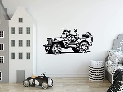 Amazon Com Fsds Car Stickers For Wall Military Jeep Wrangle Wall Decor For Kids Rooms Boys Bedroom Living Room Office Art Wall Stickers Decor Home Collection Classic Race Cars Wall Decorations