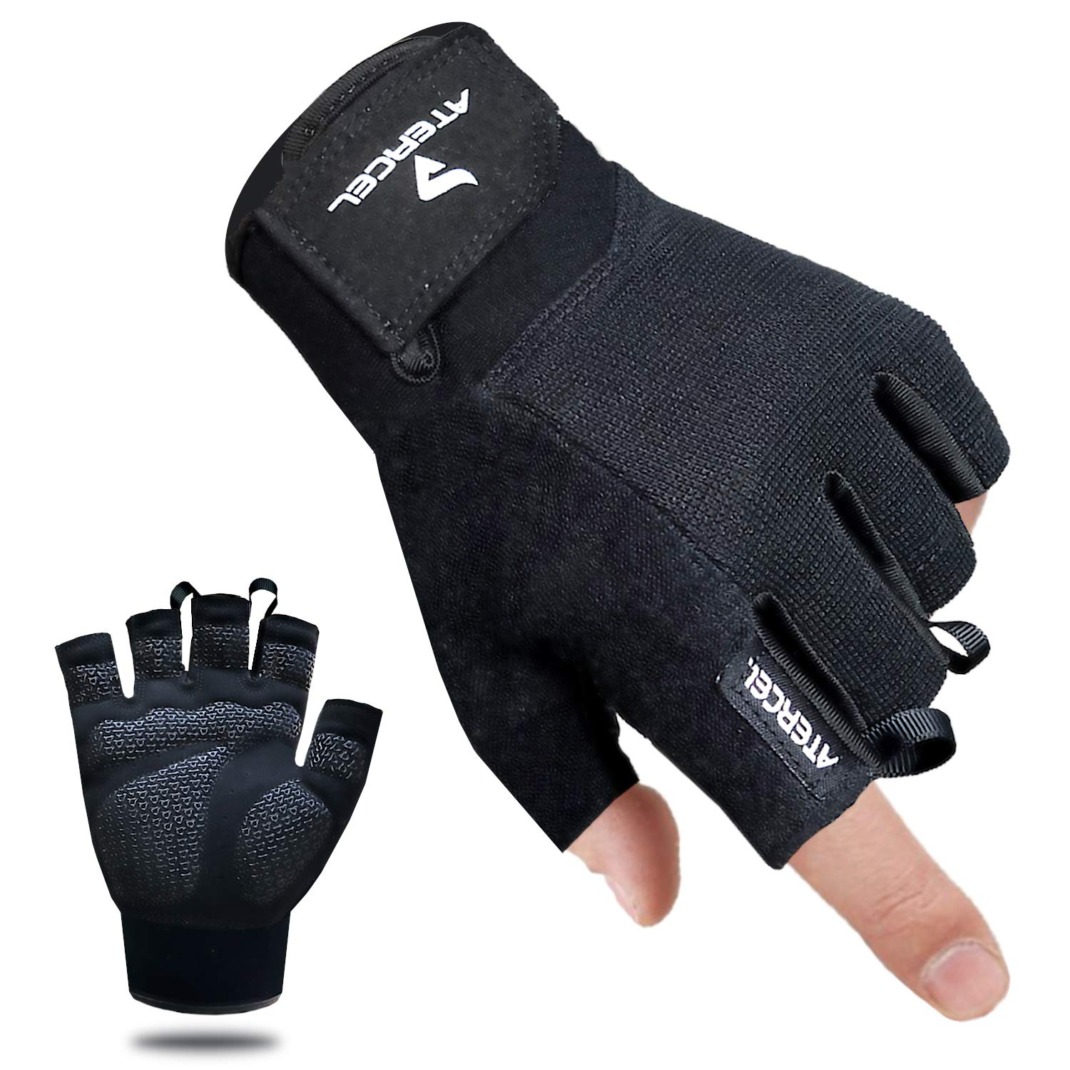 Atercel Workout Gloves, Best Exercise Gloves for Weight Lifting, Crossfit, Cycling, Gym, Training, Breathable & Snug fit, for Men & Women (Black, XS)
