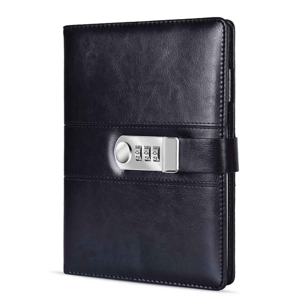 ARRLSDB A5 PU Leather Diary with Lock, Journal with Combination Lock Password Journal Locking Journal Diary (Black) by ARRLSDB