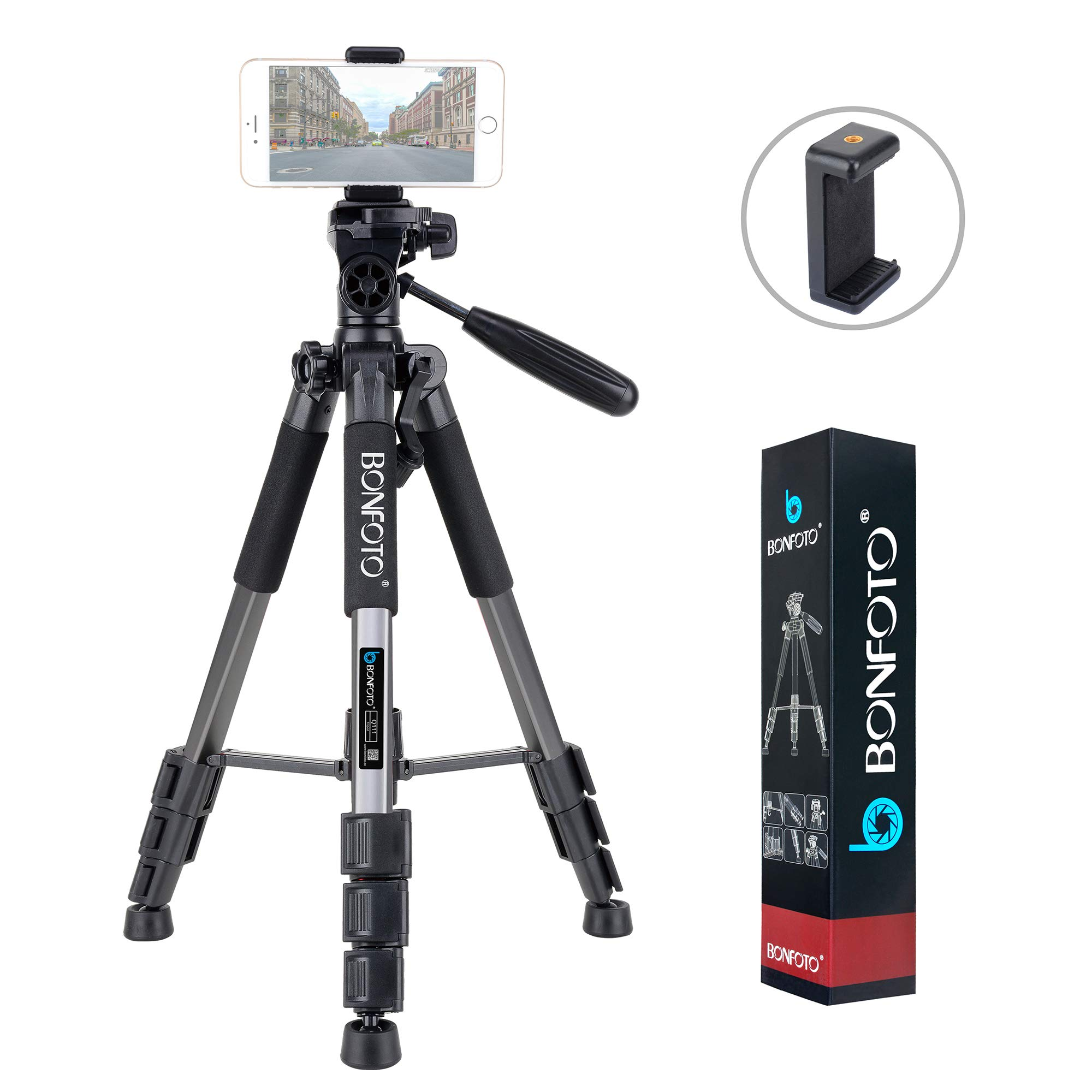 BONFOTO Q111 55-Inch Professional Compact Aluminum Camera Tripod Camcorder Stand with Pan Head Plate and Phone Holder Mount for DSLR Canon Nikon Sony DV Video and Smartphones (Silver gray)