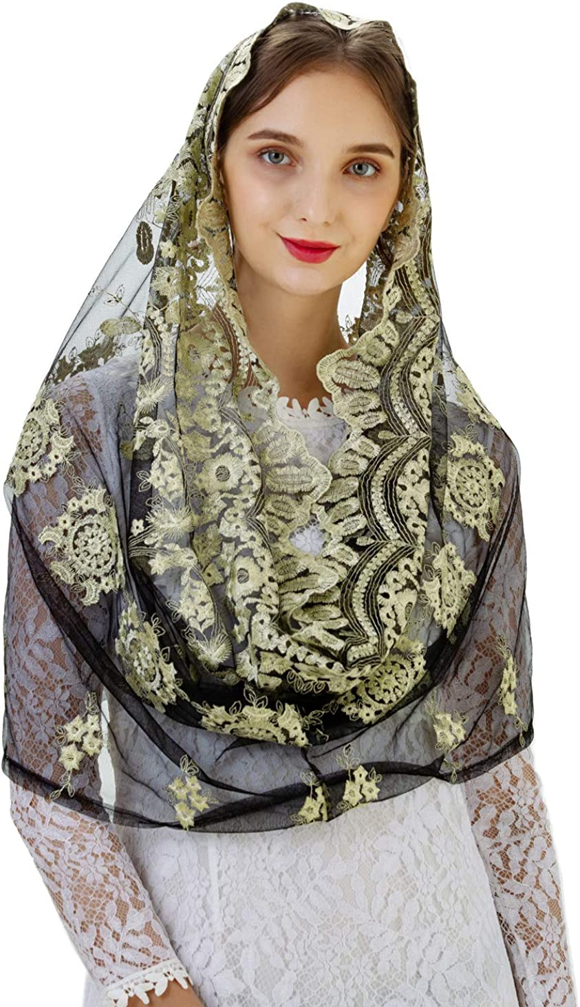 Pamor Gold Embroidered Traditional Vintage Inspired Infinity Veil Mantilla Veils Mass Head Covering