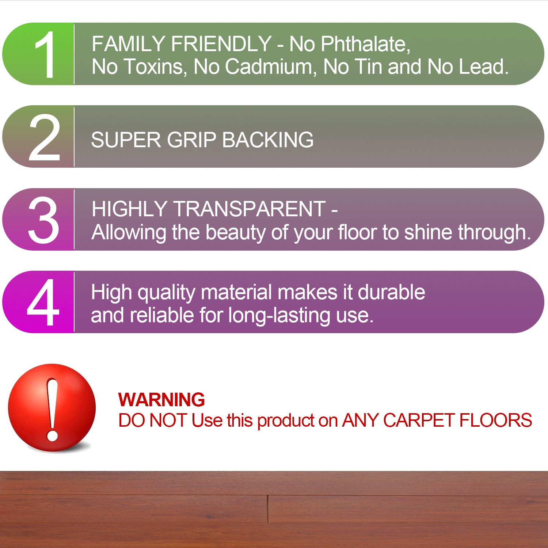 Desk Chair Mat for Carpet - Vinyl Floor Protector for Low-Pile Carpets,Non-Slip Bottom | Home, Office, Computer by kuss Online (Image #6)