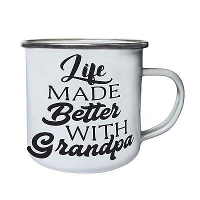La vie a fait mieux avec grand-père noir Rétro, étain, émail tasse 10oz/280ml w236e