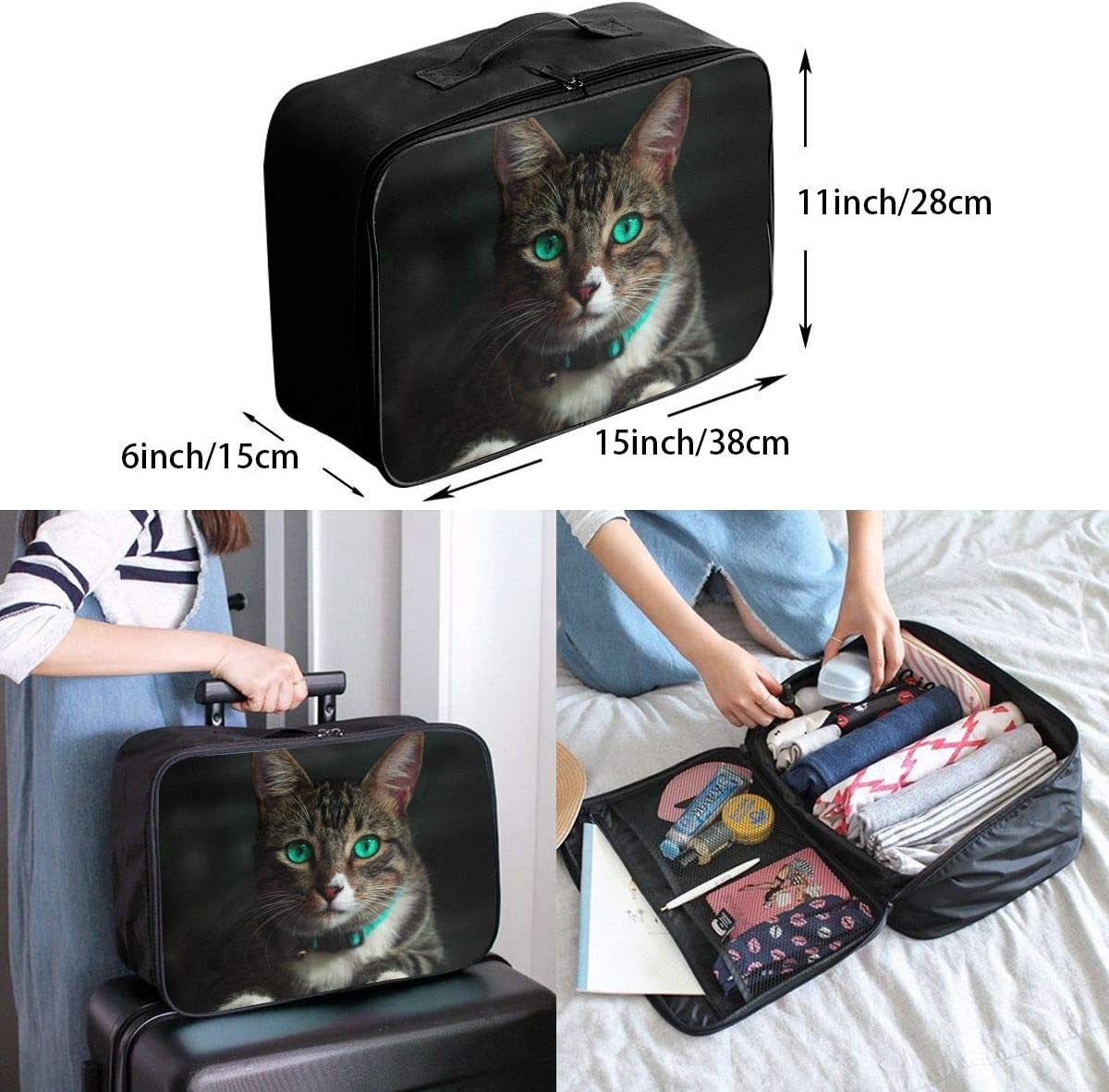 Cat Green Eyed Travel Carry-on Luggage Weekender Bag Overnight Tote Flight Duffel In Trolley Handle