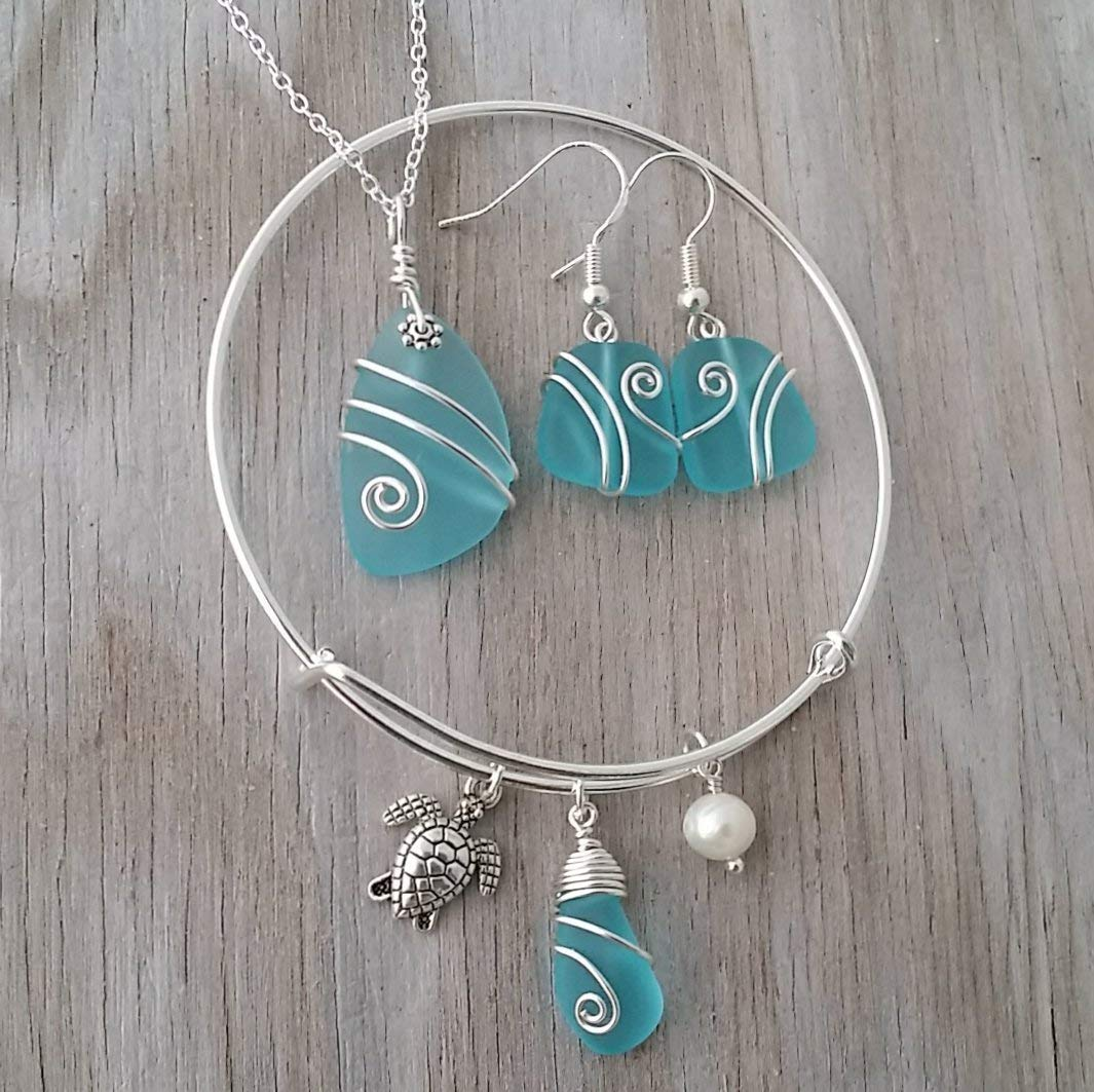 Mermaid Sea Shell Faux Pearl Charm T-Bar Necklace Earring Gift Set Valentines Alternative Hippy Boho Silver Cosplay