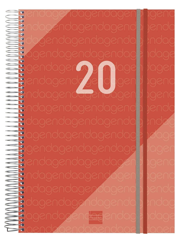Finocam Agenda 2020 1 d/ía p/ágina Espiral Year Rojo espa/ñol