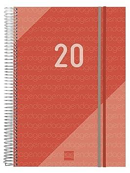 Finocam - Agenda 2020 1 día página Espiral Year Rojo español ...