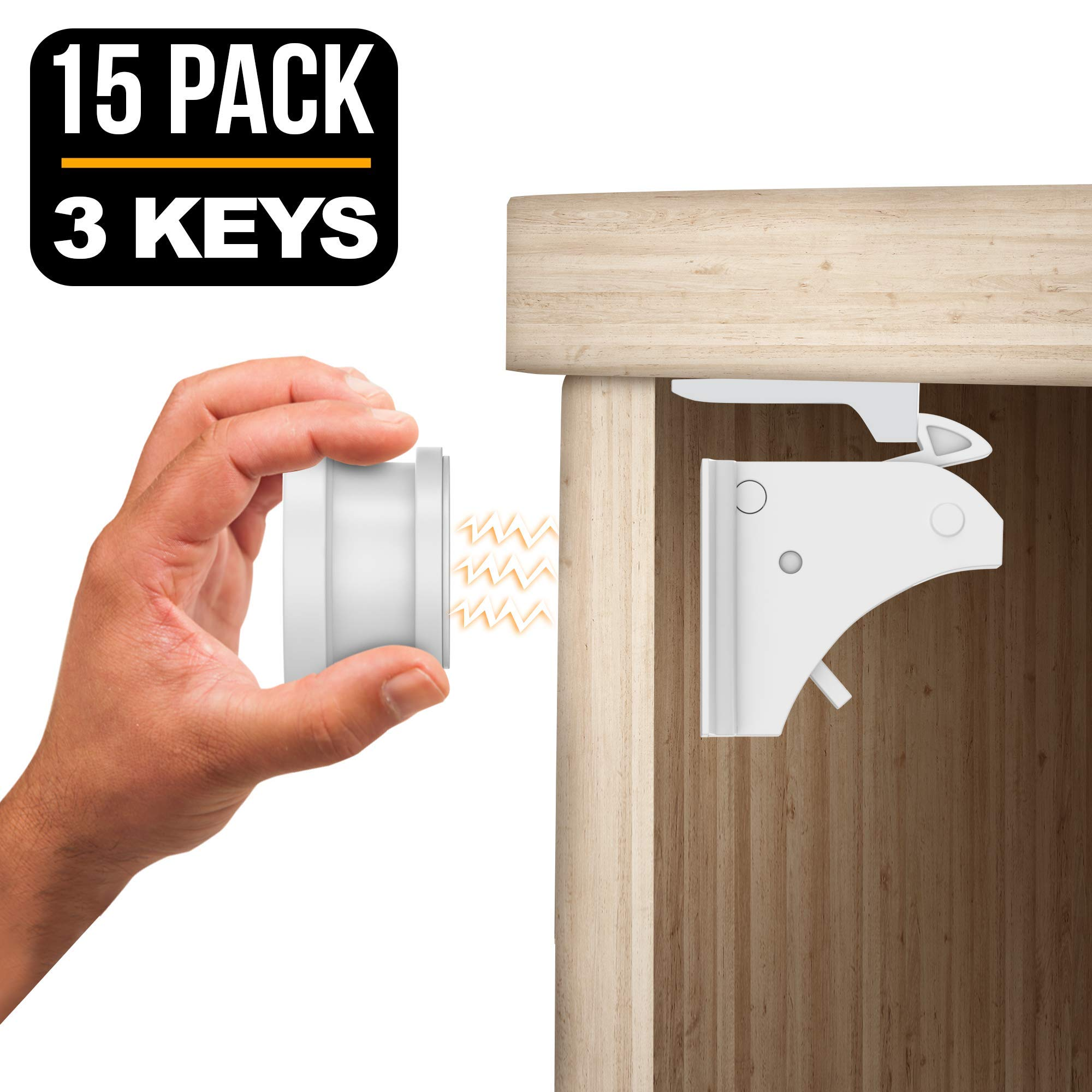 TinyPatrol 15 Locks with 3 Keys Baby Safety Cabinet Lock [EASY SET UP] Magnetic Cabinet Locks RELIABLE and DURABLE BABYPROOFING for Cabinets, Drawers [INVISIBLE LOCKS -OUTWIT SMART TODDLERS] by TinyPatrol