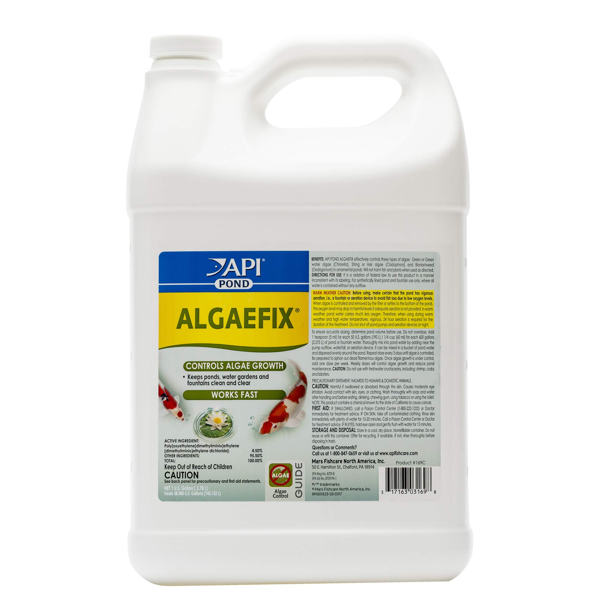 API Pond Algaefix Algae Control Solution 1 gallon Bottle by API