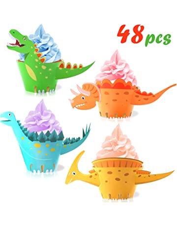 Howaf Dinosaurio Cupcake Topper de Tarta Magdalenas Decoración y Doble Cara Cupcake Wrappers para Niños Infantiles