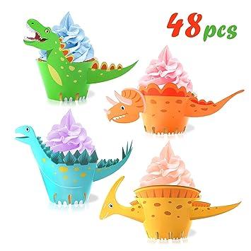 Howaf Dinosaurier Cupcake Wrapper Doppelseitig Dinosaurier Kuchen