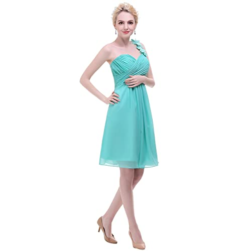esvor Flowers One Shoulder Padded Ruffles Short Prom Party Bridesmaid Dress