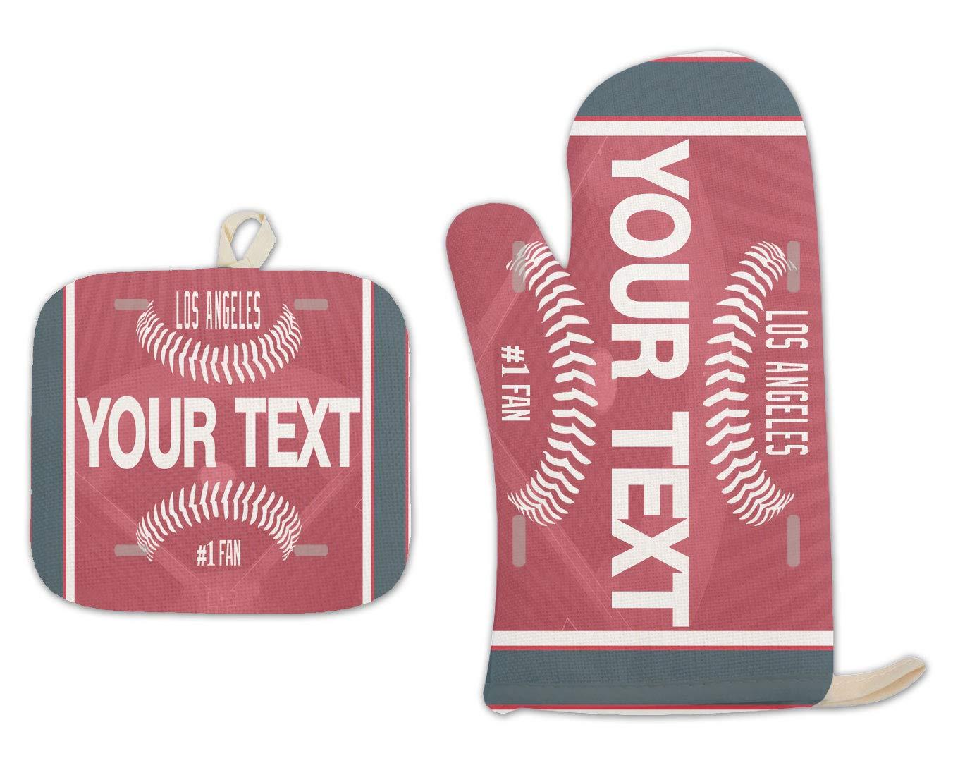 Bleu Reign BRGiftShop Personalized Custom Name Baseball Team Los Angeles Red Linen Oven Mitt and Potholder Set