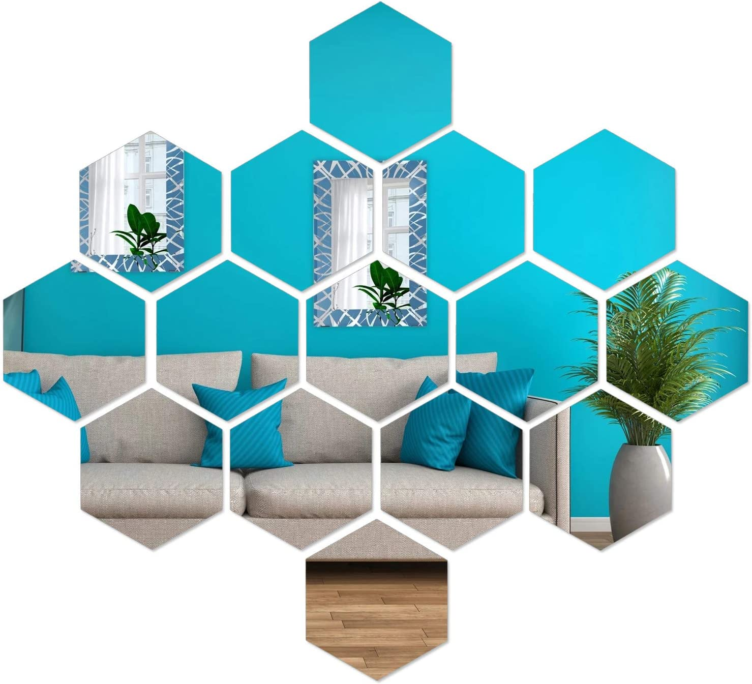 "15 Pieces Self Adhesive Acrylic Mirror Stickers Sheet, Flexible Non Glass Mirror Tiles for Home Wall Decor, Hexagon - 3.43"" x 6.85"" x 5.9"""