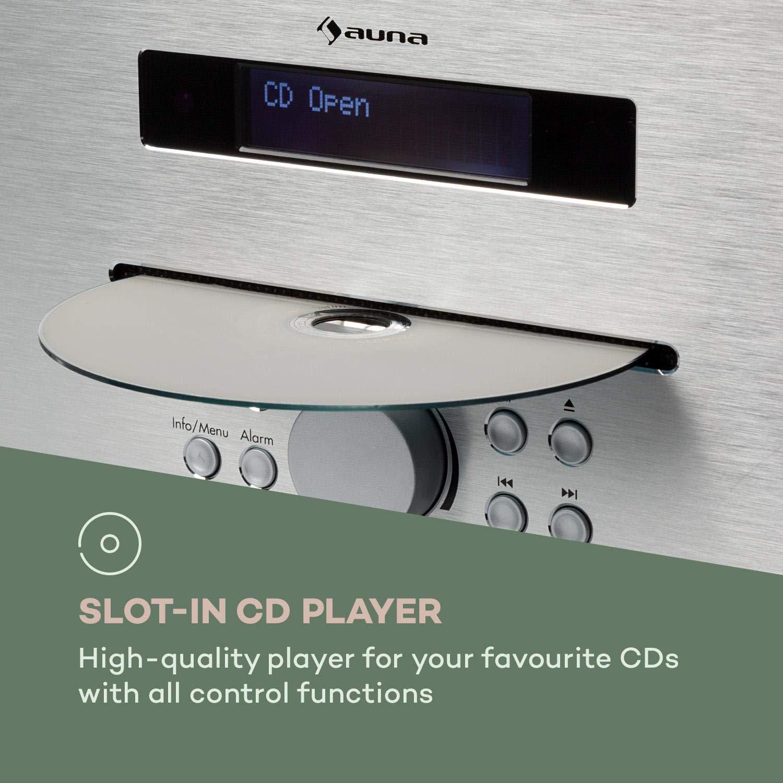 auna Silver Star /• Lettore CD con Radio FM /• Radio DAB /• USB /• AUX-IN /• Jack Cuffie /• Alluminio /• Telecomando Incluso /• Bianco e FM /• Bluetooth /• 2 x 20 Watt Max