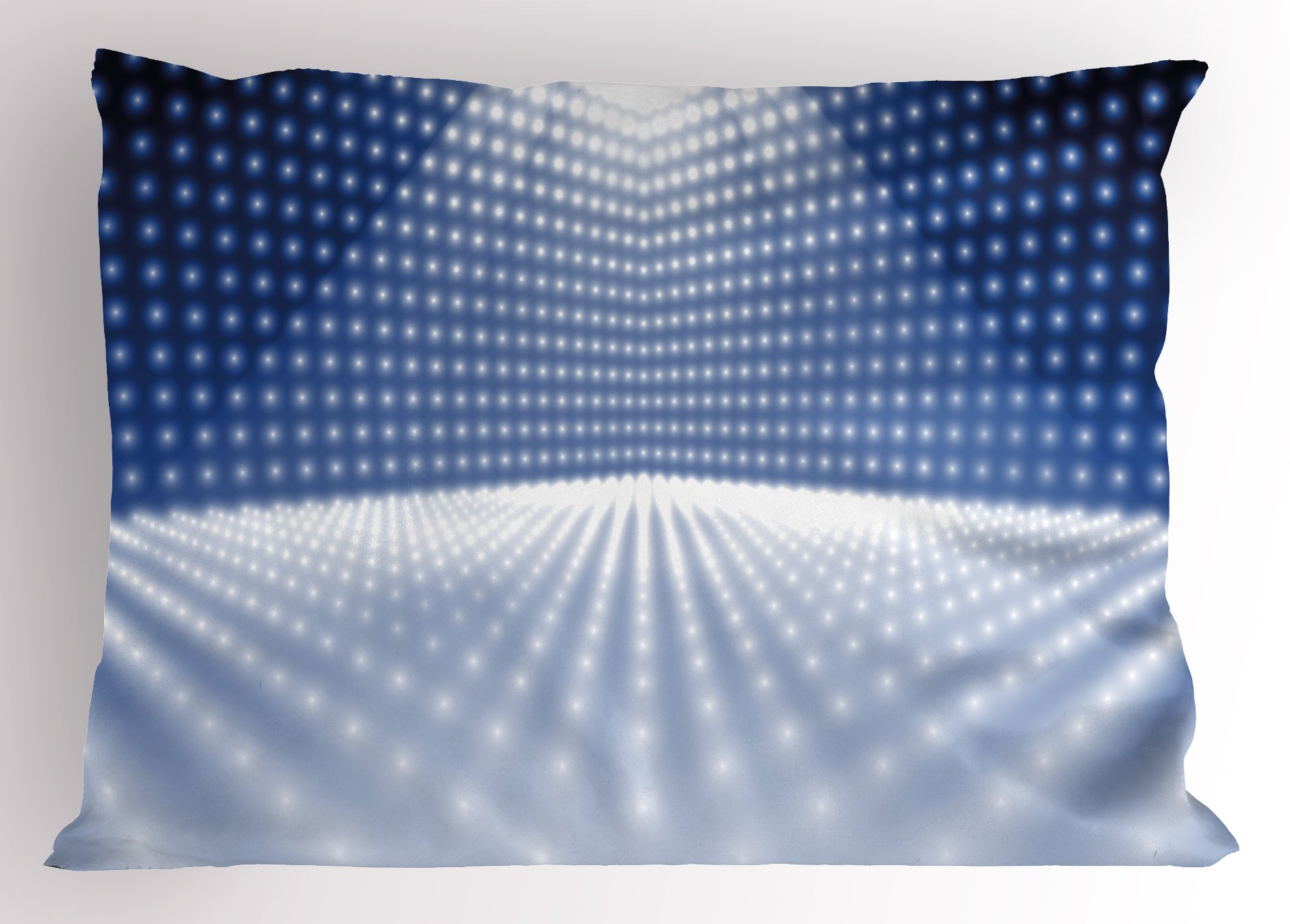 Lunarable Disco Pillow Sham, Vibrant Dotted Stage Image Movie Theater Concert Performance Dance and Music, Decorative Standard King Size Printed Pillowcase, 36 X 20 inches, Navy Blue White