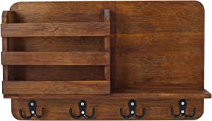EasyPAG Wall Mounted Mail Holder Bamboo Mail Sorter Organizer with 4 Double Key Hooks and A Floating Shelf Rustic Home Decor for Entryway or Mudroom,Coffee