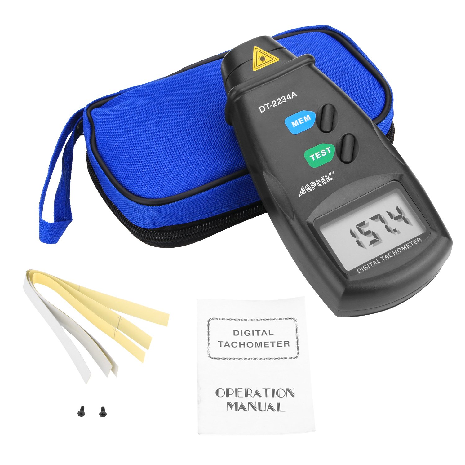 Revision Instruction Non Contact Rotation Photo 2.5-99,999 RPM Accuracy FITNATE 20713A Digital Tachometer RPM Meter With Batteries Included,4 Pack of Reflective Tape