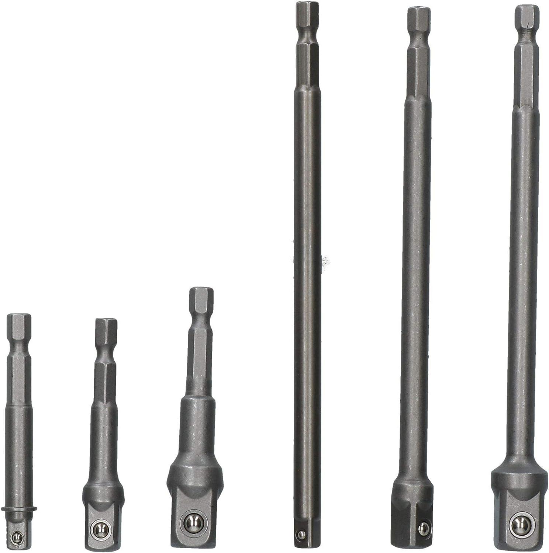 """65mm 150mm Socket Adapter Adaptor Hex Extension Set 1//4/"""" 3//8/"""" 1//2/"""" 6pc"""
