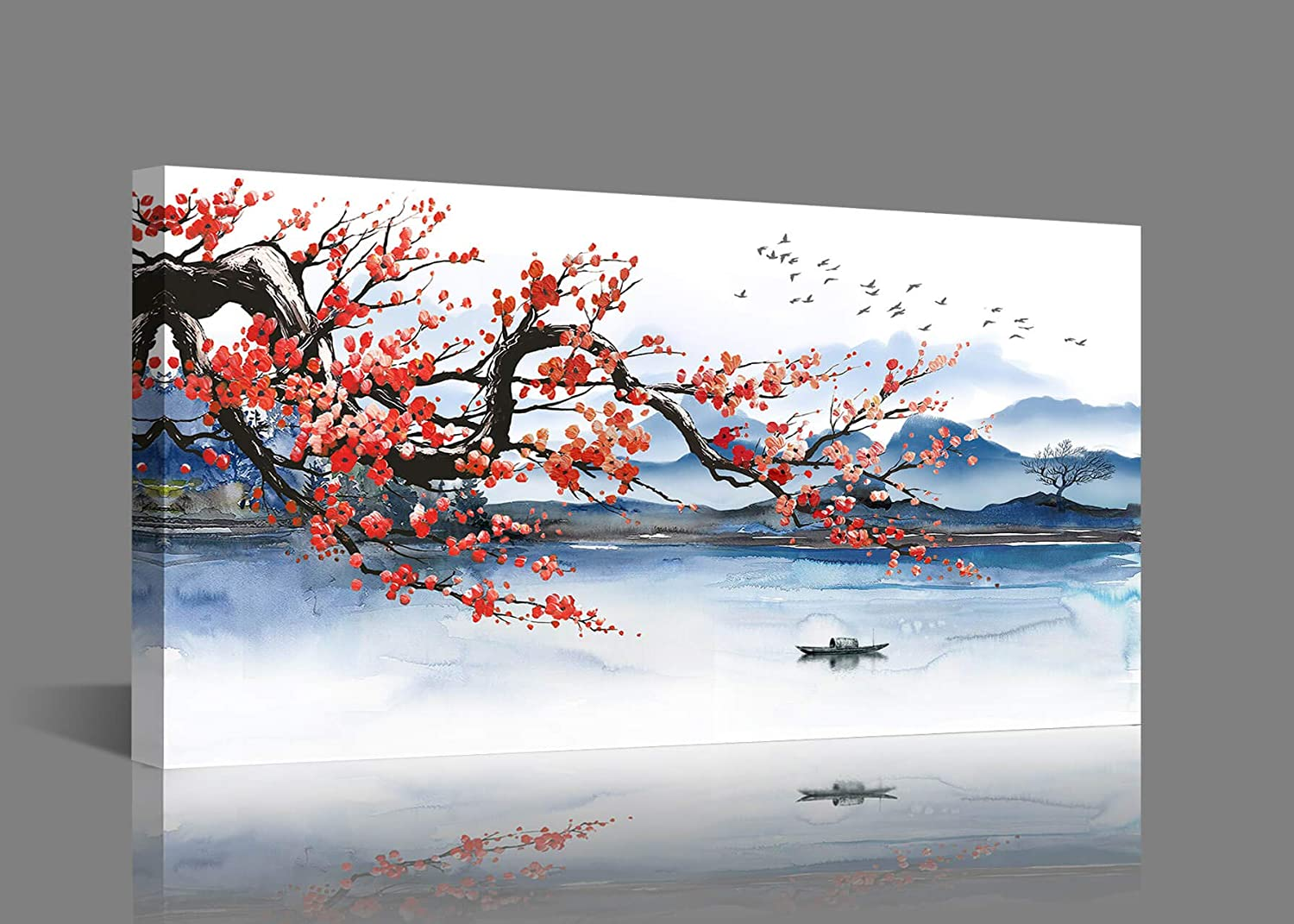Large Wall Art for Living Room Canvas Art Wall Decor Framed Wall Art Modern Wall Decor for Bedroom Mountain Cherry Blossom Landscape Art Prints Modern Wall Art Artwork for Home Walls Size 24x48 inches