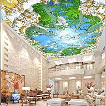 Wall Art Custom Large Fresco Wallpaper Large Tree Living Room Decoration Painting 3d Roof Ceiling Home Decoration Amazon Com