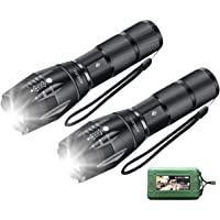 AUSELECT Led Torch Flashlight handhelp Cree High Lumen T6 Ultra Bright Water Resistant Adjustable Zoomable (1PC/2PACK)