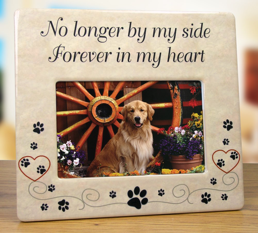 Banberry Designs Pet Memorial Ceramic Picture Frame - No Longer by My Side Forever in My Heart - Loss of a Pet Gift - Pet Photo Frame - Pet Sympathy Gift - in Memory of a Pet by Banberry Designs