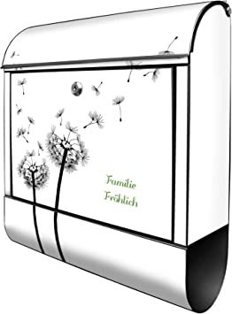 Montagematerial Stahl pulverbeschichtet mit Zeitungsrolle Banjado Design Briefkasten personalisiert mit Motiv Alter Leuchtturm A4 Einwurf inkl Gr/ö/ße 39x47x14cm 2 Schl/üssel