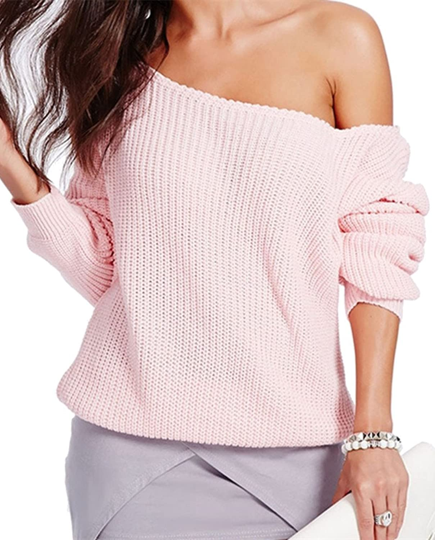 SZIVYSHI Women's Oblique Shoulder Strapless Solid Color loose Sleeve Sweater