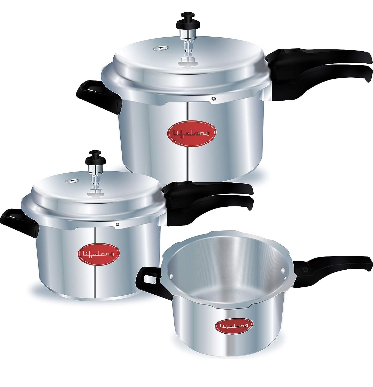 Lifelong Pressure Cooker Outer Lid Combo, 2 Litre, 3 Litre & 5 Litre (ISI)