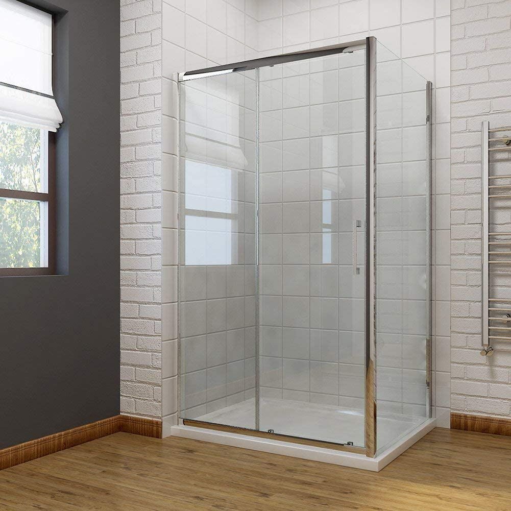 1000 x 700mm Sliding Shower Enclosure 8mm Easy Clean Glass Shower Cubicle Door with Shower Tray + Side Panel