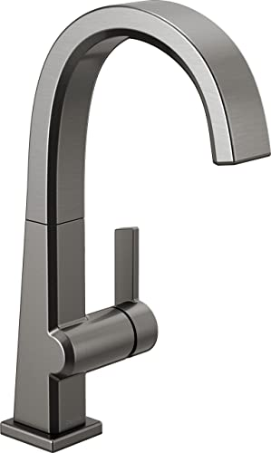 Delta Faucet Pivotal Single-Handle Bar-Prep Kitchen Sink Faucet, Black Stainless 1993LF-KS