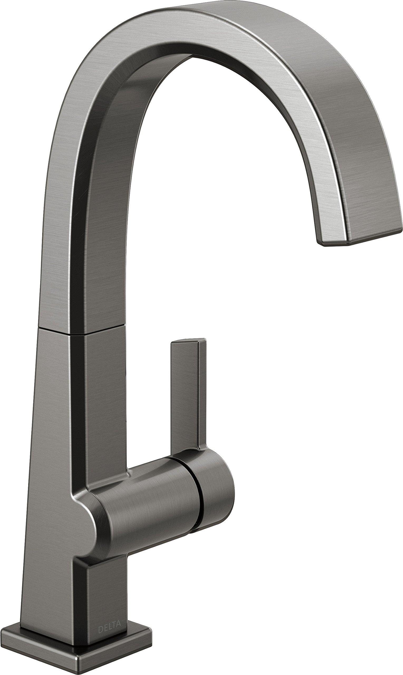 Delta Faucet Pivotal Single-Handle Bar-Prep Kitchen Sink Faucet, Black Stainless 1993LF-KS